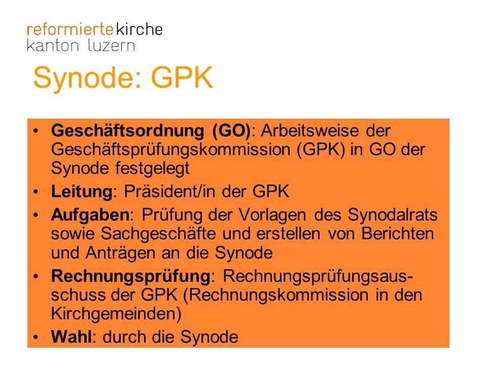 Synode: GPK Geschäftsordnung (GO): Arbeitsweise der Geschäftsprüfungskommission (GPK) in GO der Synode festgelegt Leitung: Präsident/in der GPK Aufgab