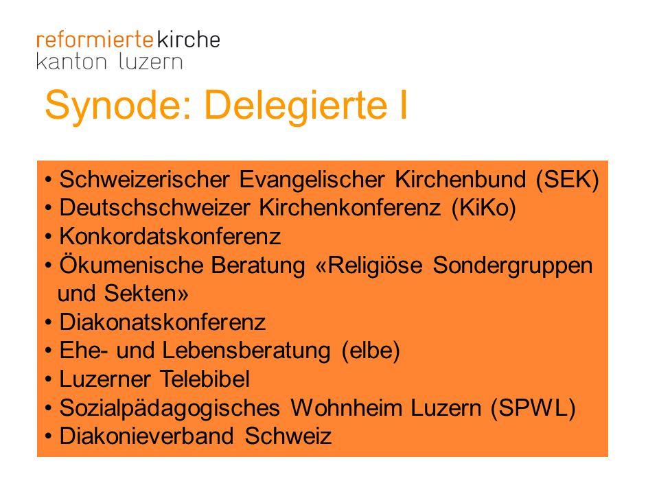 Synode: Delegierte I Schweizerischer Evangelischer Kirchenbund (SEK) Deutschschweizer Kirchenkonferenz (KiKo) Konkordatskonferenz Ökumenische Beratung
