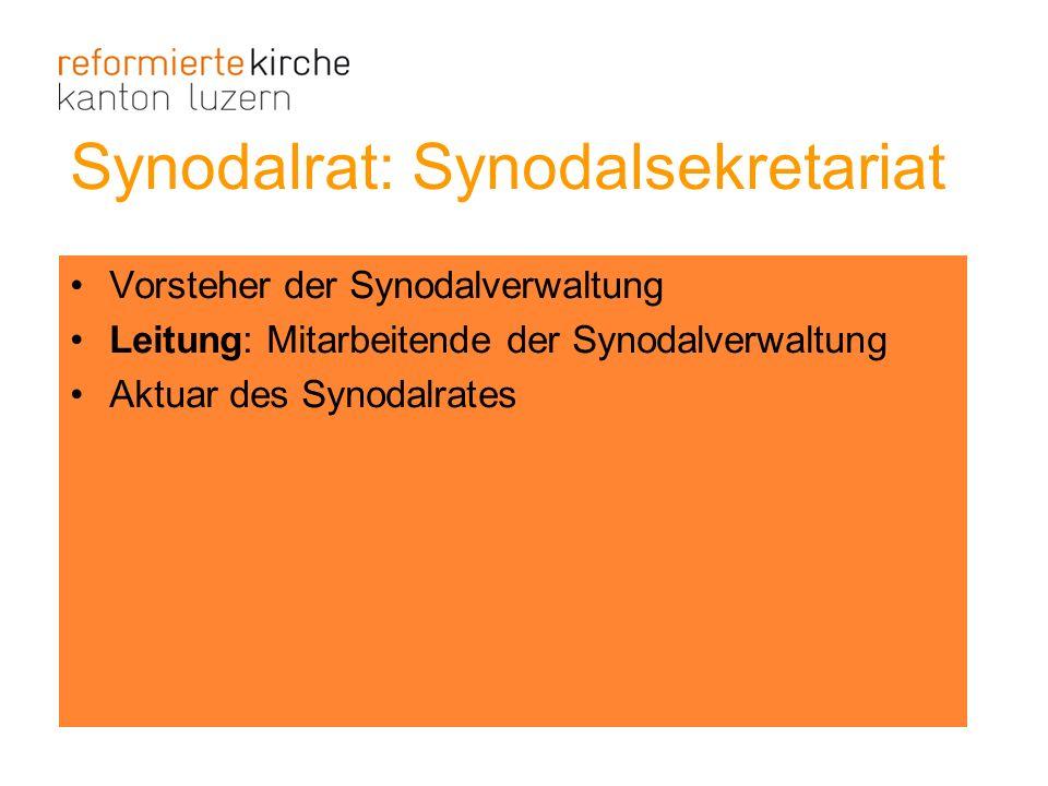 Vorsteher der Synodalverwaltung Leitung: Mitarbeitende der Synodalverwaltung Aktuar des Synodalrates Synodalrat: Synodalsekretariat