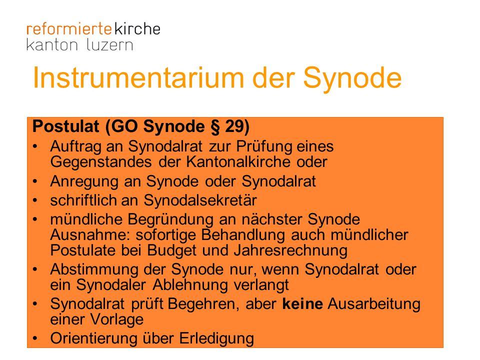 Postulat (GO Synode § 29) Auftrag an Synodalrat zur Prüfung eines Gegenstandes der Kantonalkirche oder Anregung an Synode oder Synodalrat schriftlich