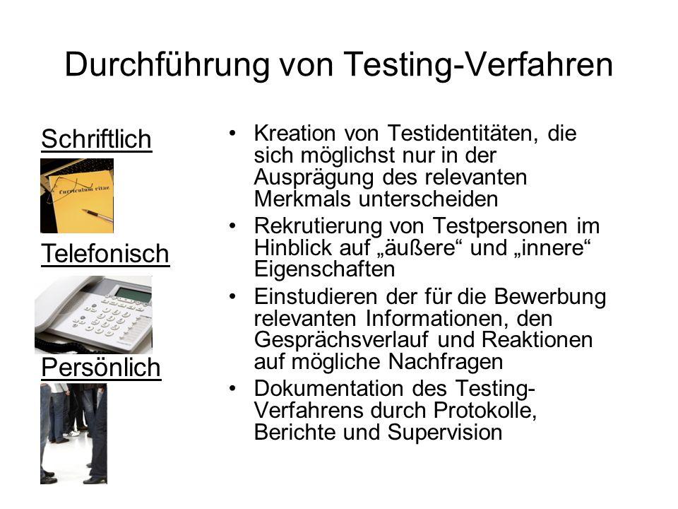 Schriftlich Telefonisch Persönlich Durchführung von Testing-Verfahren Kreation von Testidentitäten, die sich möglichst nur in der Ausprägung des relev