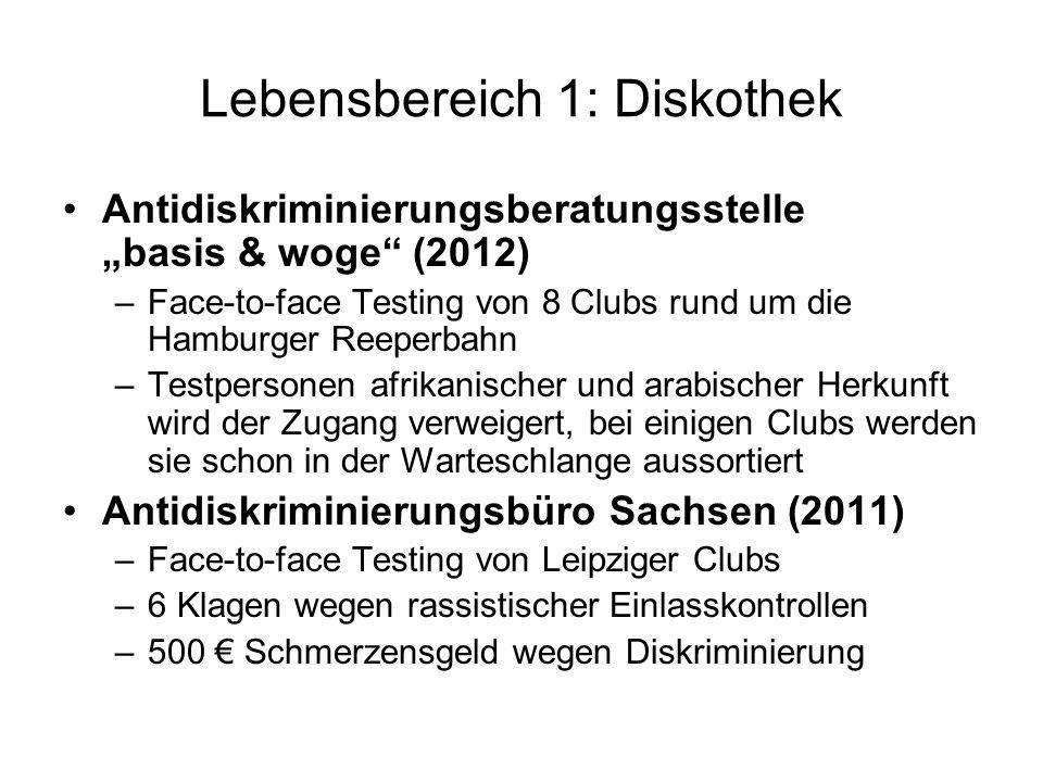 Lebensbereich 1: Diskothek Antidiskriminierungsberatungsstelle basis & woge (2012) –Face-to-face Testing von 8 Clubs rund um die Hamburger Reeperbahn