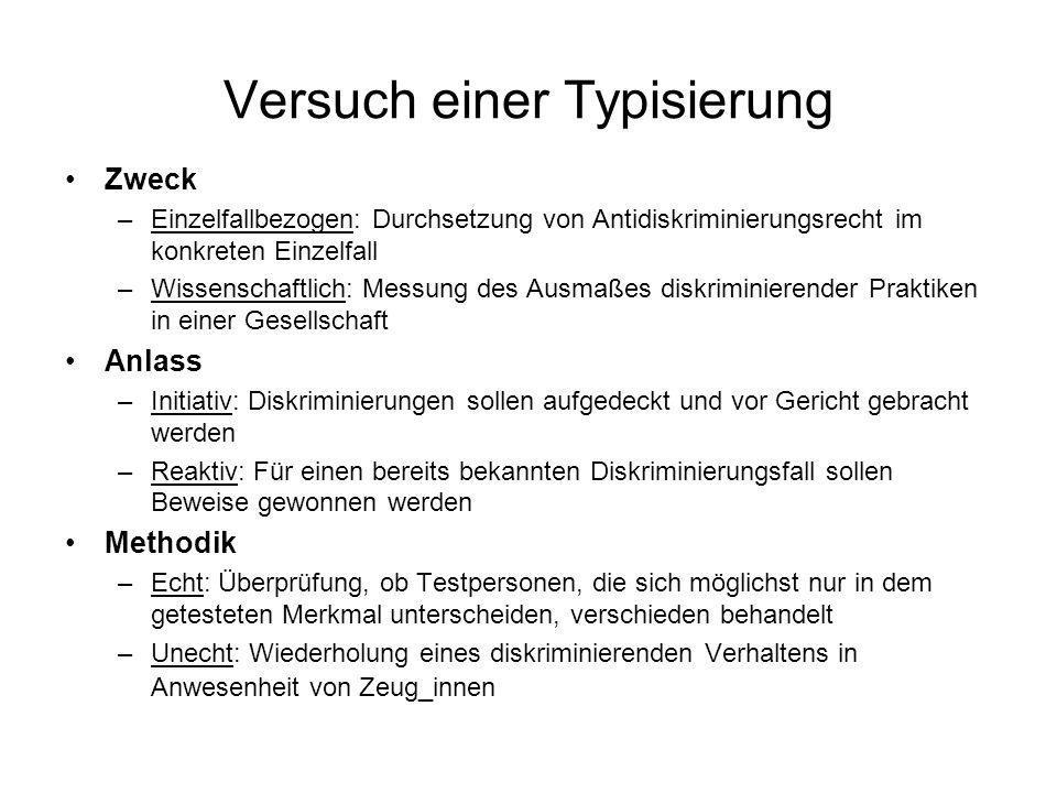 Versuch einer Typisierung Zweck –Einzelfallbezogen: Durchsetzung von Antidiskriminierungsrecht im konkreten Einzelfall –Wissenschaftlich: Messung des