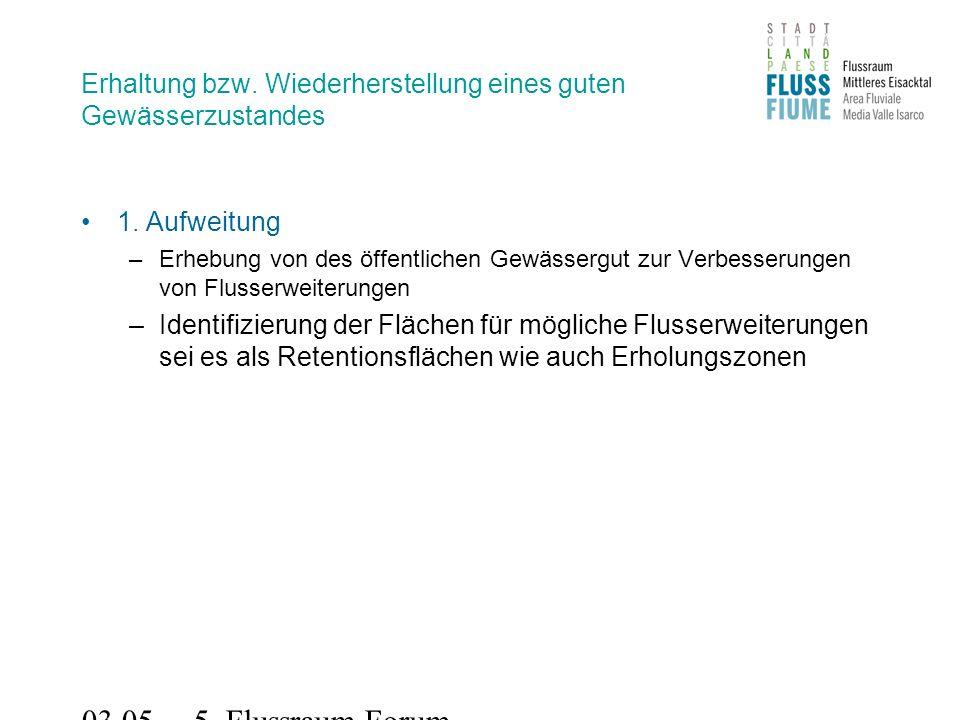 03.05.2011 5. Flussraum-Forum Erhaltung bzw. Wiederherstellung eines guten Gewässerzustandes 1.