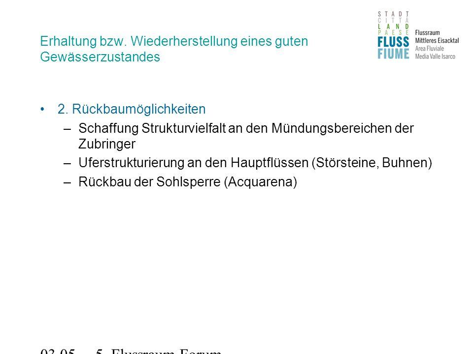 03.05.2011 5. Flussraum-Forum Erhaltung bzw. Wiederherstellung eines guten Gewässerzustandes 2.