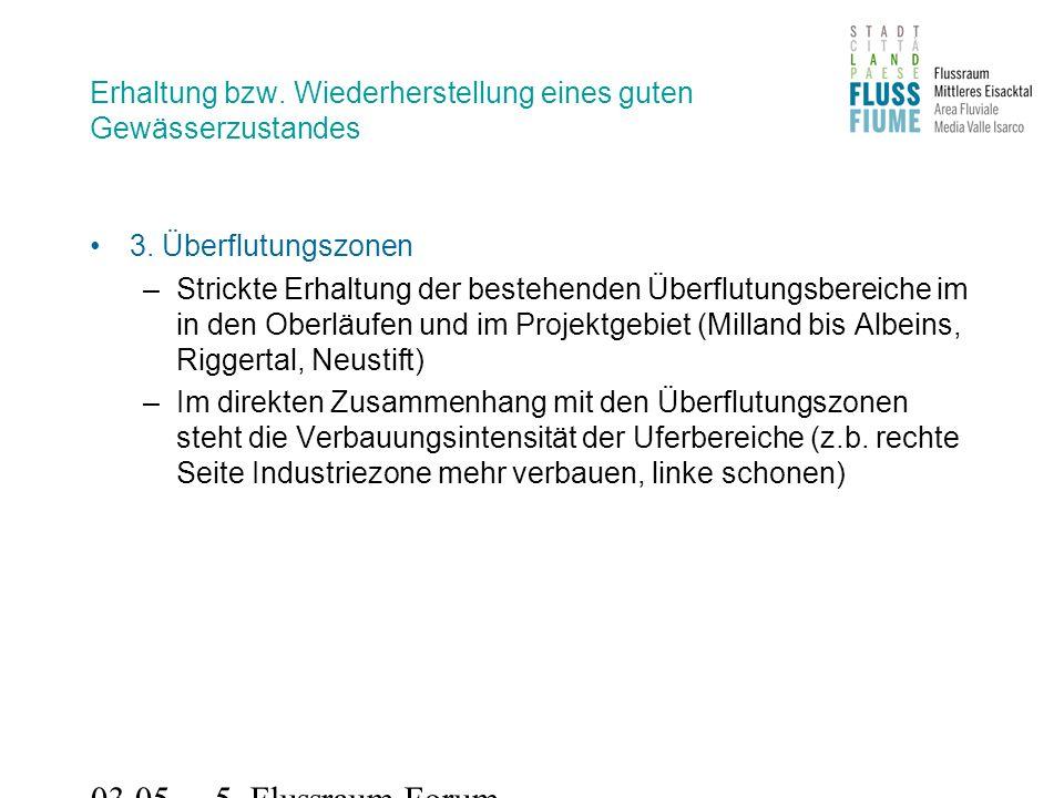 03.05.2011 5. Flussraum-Forum Erhaltung bzw. Wiederherstellung eines guten Gewässerzustandes 3.