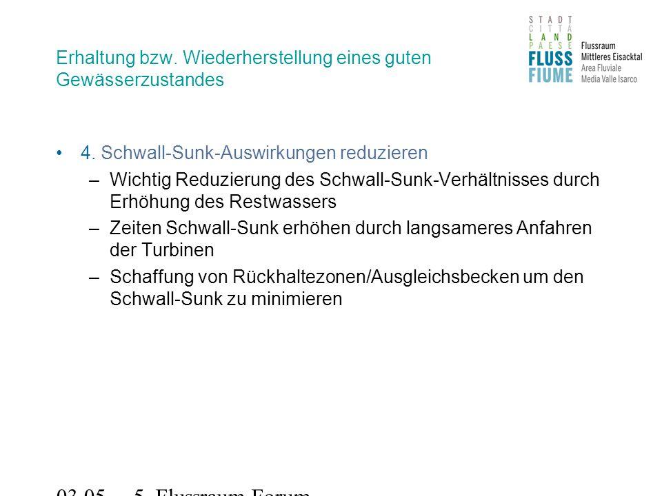 03.05.2011 5. Flussraum-Forum Erhaltung bzw. Wiederherstellung eines guten Gewässerzustandes 4.