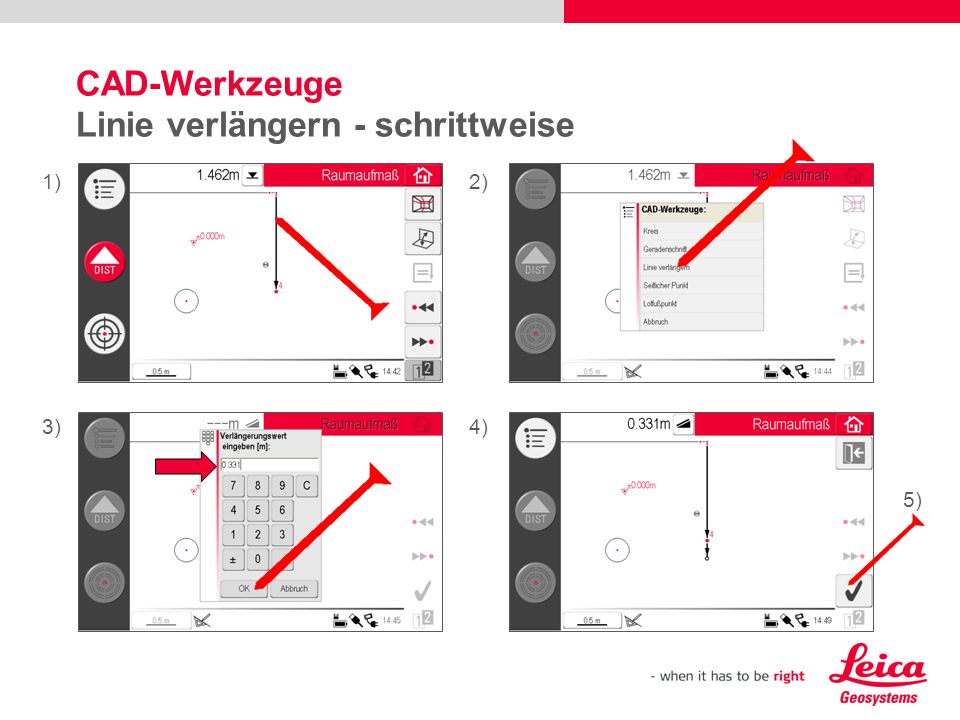 CAD-Werkzeuge Linie verlängern - schrittweise 1)2) 3)4) 5)
