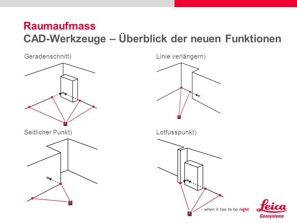 Raumaufmass CAD-Werkzeuge – Überblick der neuen Funktionen Geradenschnitt)Linie verlängern) Seitlicher Punkt)Lotfusspunkt)