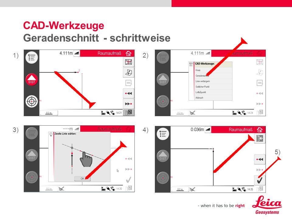 CAD-Werkzeuge Geradenschnitt - schrittweise 1)2) 3)4) 5)