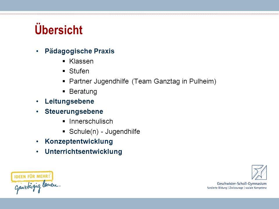 Übersicht Pädagogische Praxis Klassen Stufen Partner Jugendhilfe (Team Ganztag in Pulheim) Beratung Leitungsebene Steuerungsebene Innerschulisch Schul