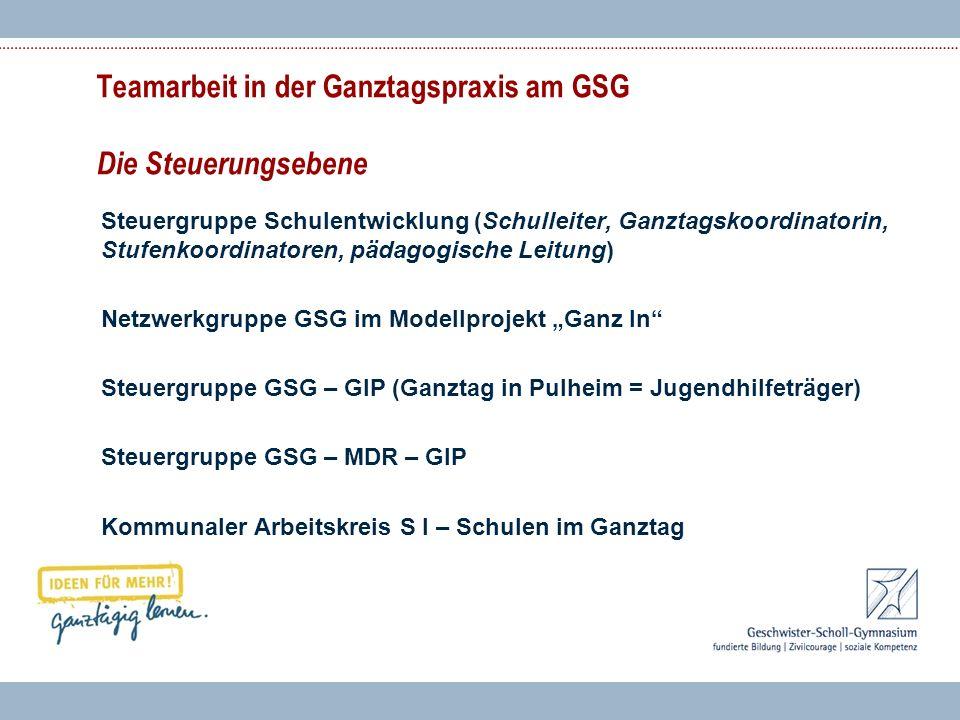 Teamarbeit in der Ganztagspraxis am GSG Die Steuerungsebene Steuergruppe Schulentwicklung (Schulleiter, Ganztagskoordinatorin, Stufenkoordinatoren, pä