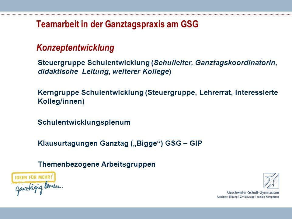 Teamarbeit in der Ganztagspraxis am GSG Konzeptentwicklung Steuergruppe Schulentwicklung (Schulleiter, Ganztagskoordinatorin, didaktische Leitung, wei