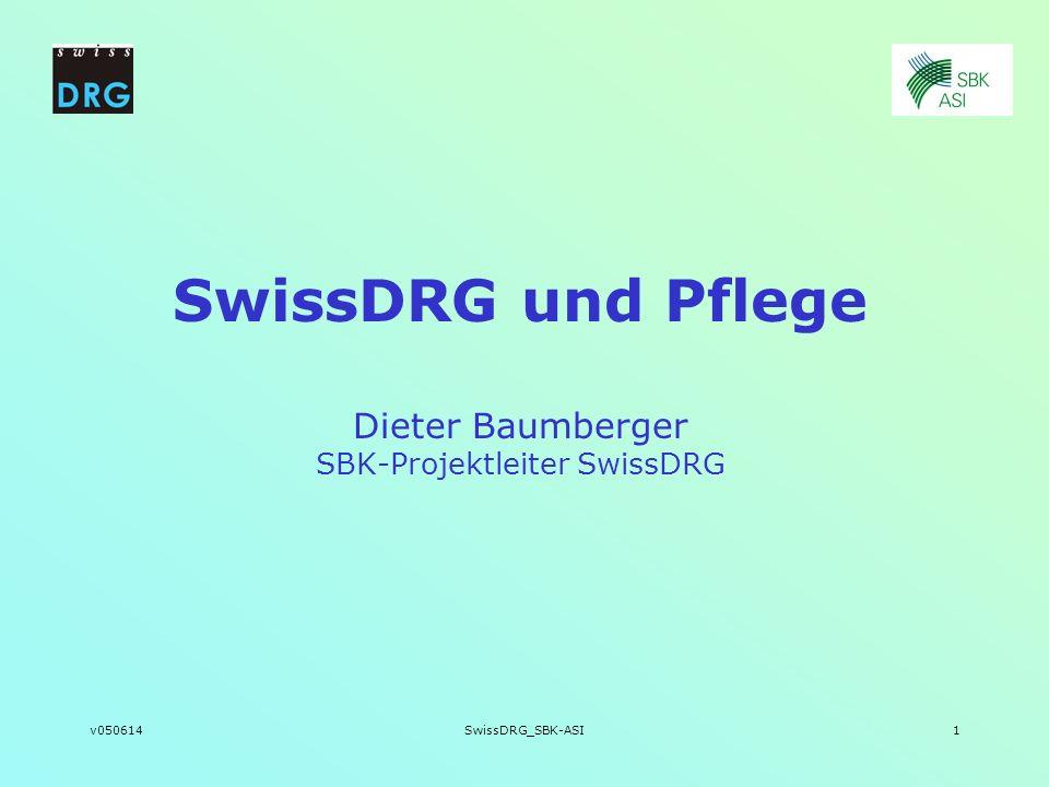 v050614SwissDRG_SBK-ASI1 SwissDRG und Pflege Dieter Baumberger SBK-Projektleiter SwissDRG