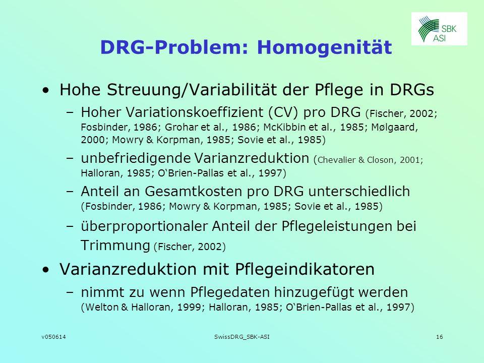 v050614SwissDRG_SBK-ASI16 DRG-Problem: Homogenität Hohe Streuung/Variabilität der Pflege in DRGs –Hoher Variationskoeffizient (CV) pro DRG (Fischer, 2