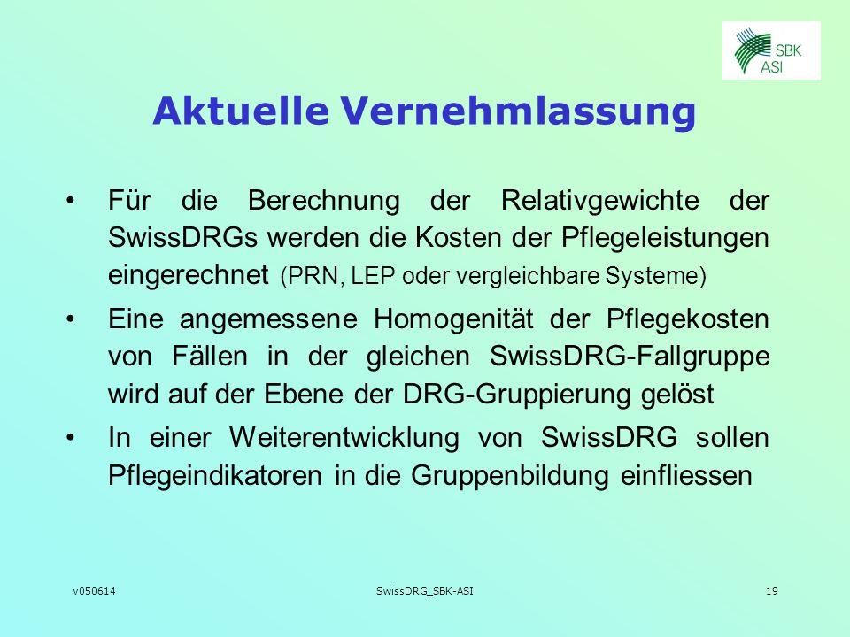 v050614SwissDRG_SBK-ASI19 Aktuelle Vernehmlassung Für die Berechnung der Relativgewichte der SwissDRGs werden die Kosten der Pflegeleistungen eingerec