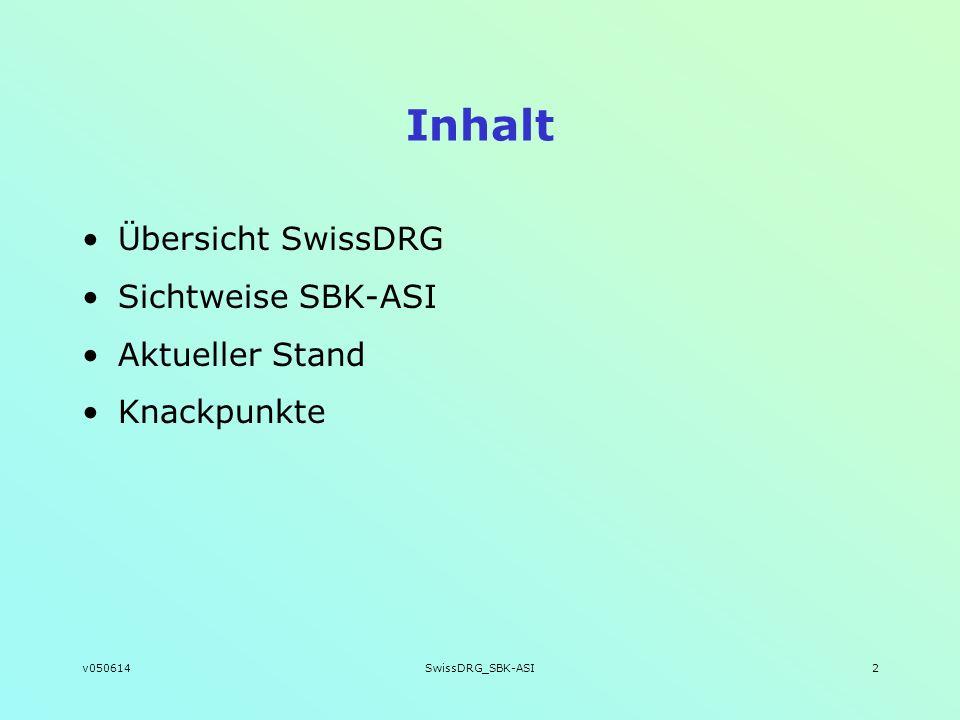 v050614SwissDRG_SBK-ASI2 Inhalt Übersicht SwissDRG Sichtweise SBK-ASI Aktueller Stand Knackpunkte