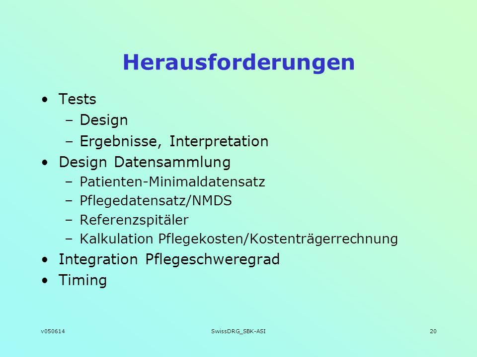 v050614SwissDRG_SBK-ASI20 Herausforderungen Tests –Design –Ergebnisse, Interpretation Design Datensammlung –Patienten-Minimaldatensatz –Pflegedatensat