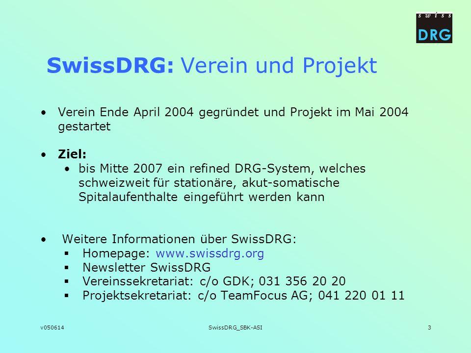 v050614SwissDRG_SBK-ASI3 SwissDRG: Verein und Projekt Verein Ende April 2004 gegründet und Projekt im Mai 2004 gestartet Ziel: bis Mitte 2007 ein refi