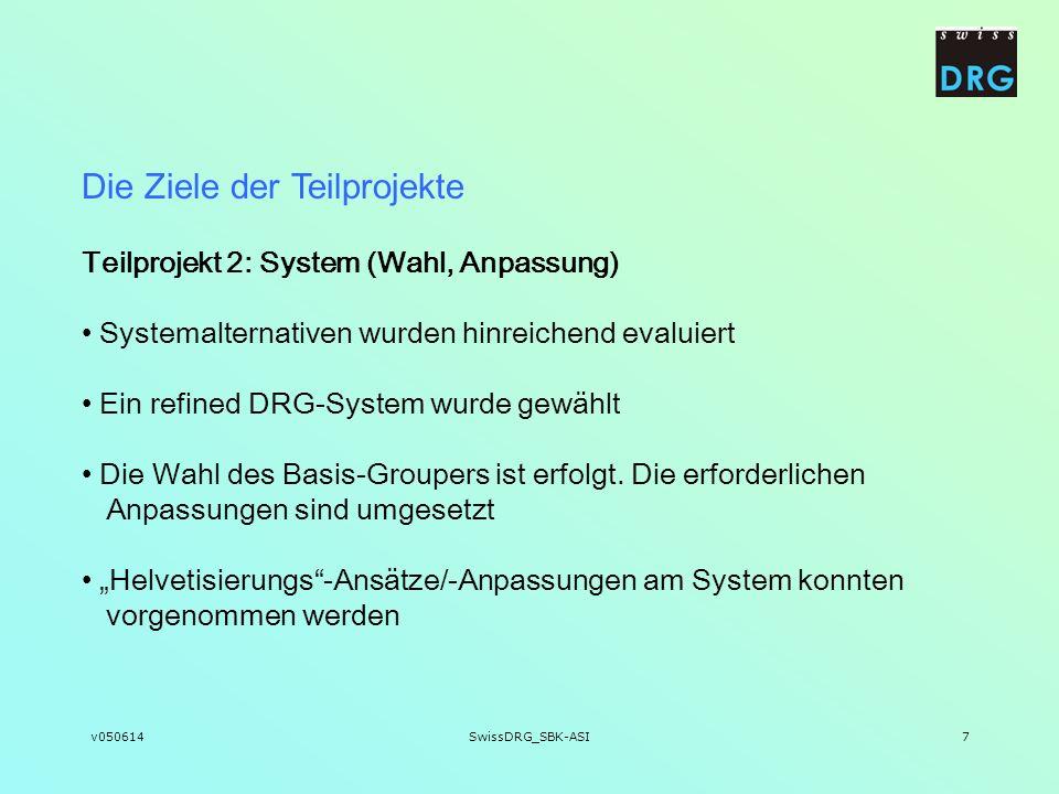 v050614SwissDRG_SBK-ASI7 Teilprojekt 2: System (Wahl, Anpassung) Systemalternativen wurden hinreichend evaluiert Ein refined DRG-System wurde gewählt