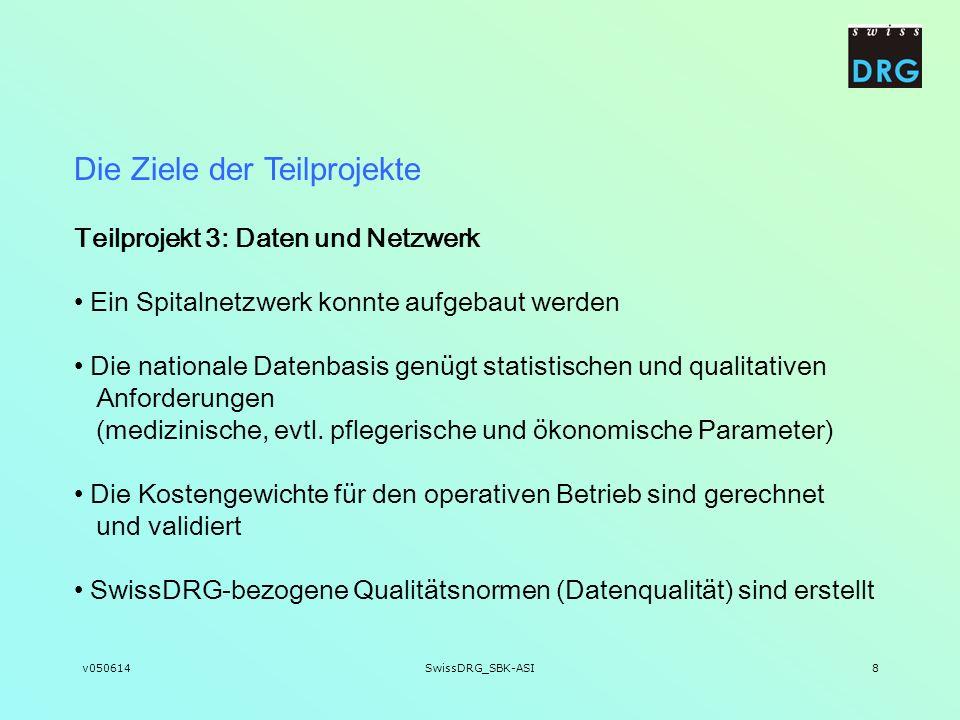 v050614SwissDRG_SBK-ASI8 Teilprojekt 3: Daten und Netzwerk Ein Spitalnetzwerk konnte aufgebaut werden Die nationale Datenbasis genügt statistischen un