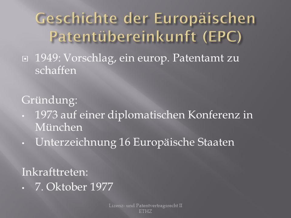1991 diplomatische Konferenz der Mitgliedsstaaten Festlegung der Patentlaufzeit auf 20 Jahre.