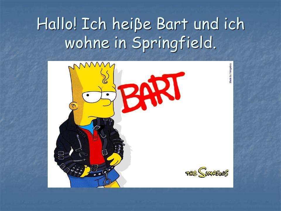 Hallo! Ich heiβe Bart und ich wohne in Springfield.