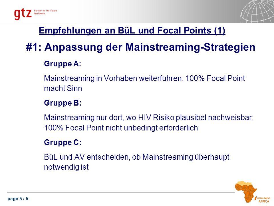 page 5 / 5 Empfehlungen an BüL und Focal Points (1) #1: Anpassung der Mainstreaming-Strategien Gruppe A: Mainstreaming in Vorhaben weiterführen; 100%