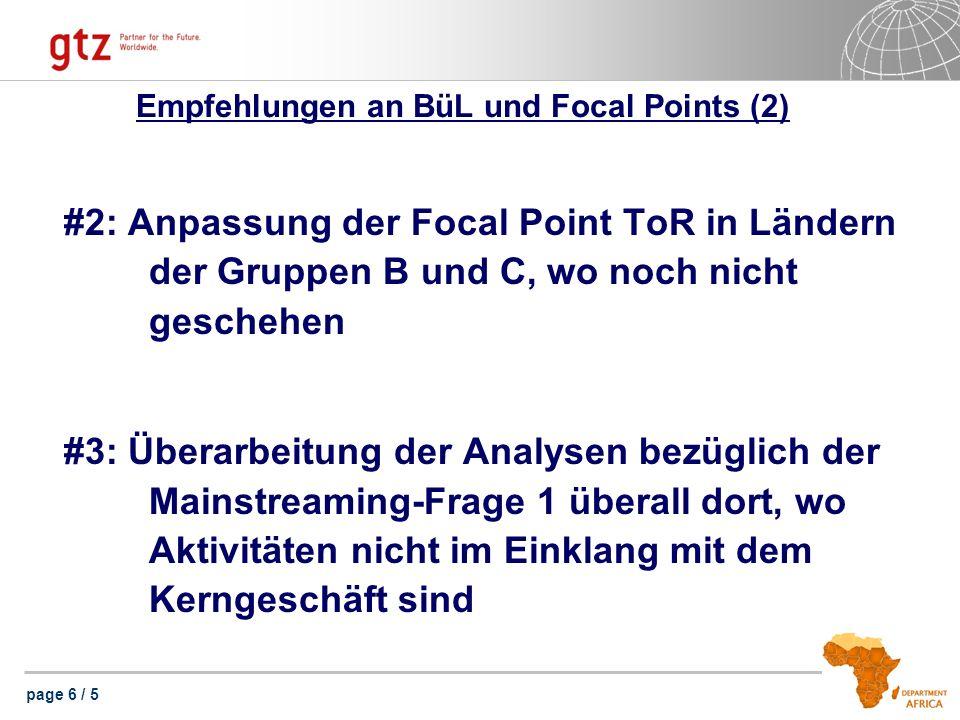 page 6 / 5 Empfehlungen an BüL und Focal Points (2) #2: Anpassung der Focal Point ToR in Ländern der Gruppen B und C, wo noch nicht geschehen #3: Überarbeitung der Analysen bezüglich der Mainstreaming-Frage 1 überall dort, wo Aktivitäten nicht im Einklang mit dem Kerngeschäft sind