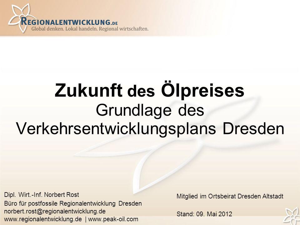 Zukunft des Ölpreises Grundlage des Verkehrsentwicklungsplans Dresden Dipl.