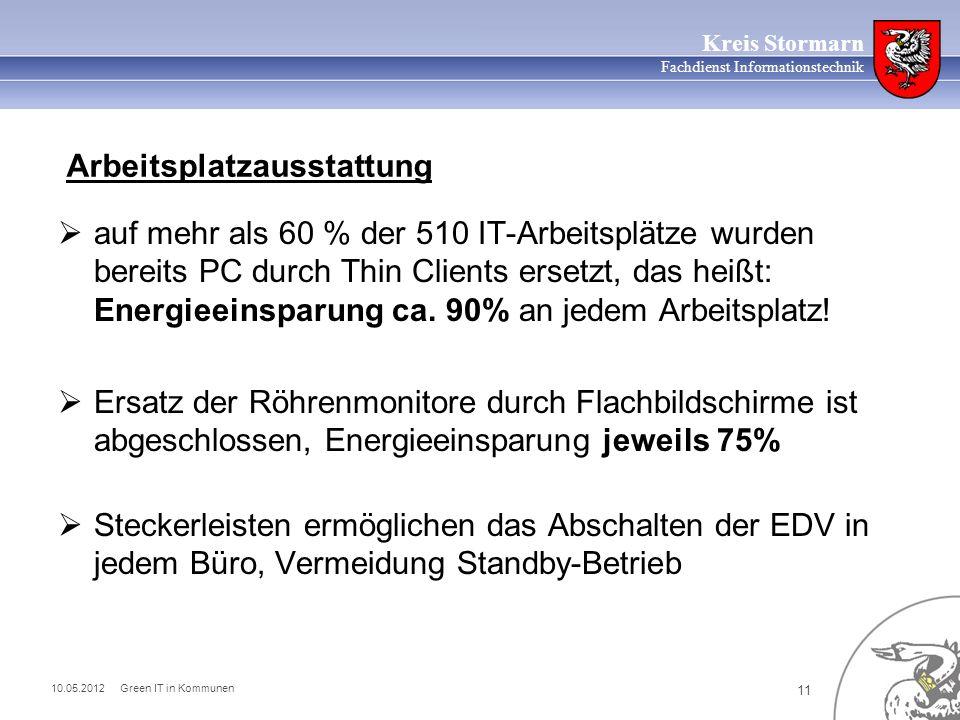 10.05.2012 Green IT in Kommunen 11 Kreis Stormarn Fachdienst Informationstechnik auf mehr als 60 % der 510 IT-Arbeitsplätze wurden bereits PC durch Thin Clients ersetzt, das heißt: Energieeinsparung ca.