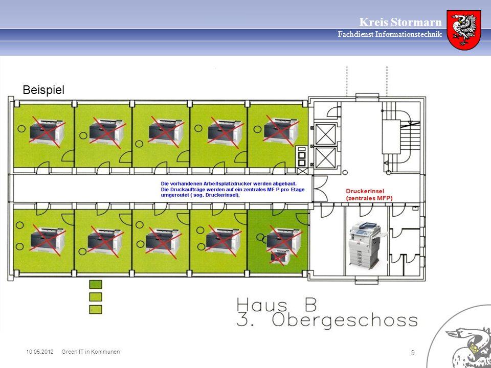 10.05.2012 Green IT in Kommunen 10 Kreis Stormarn Fachdienst Informationstechnik Nebeneffekte der Druckzentralisierung: erwarteter Rückgang des Papierverbrauchs von bisher 3 Mio.