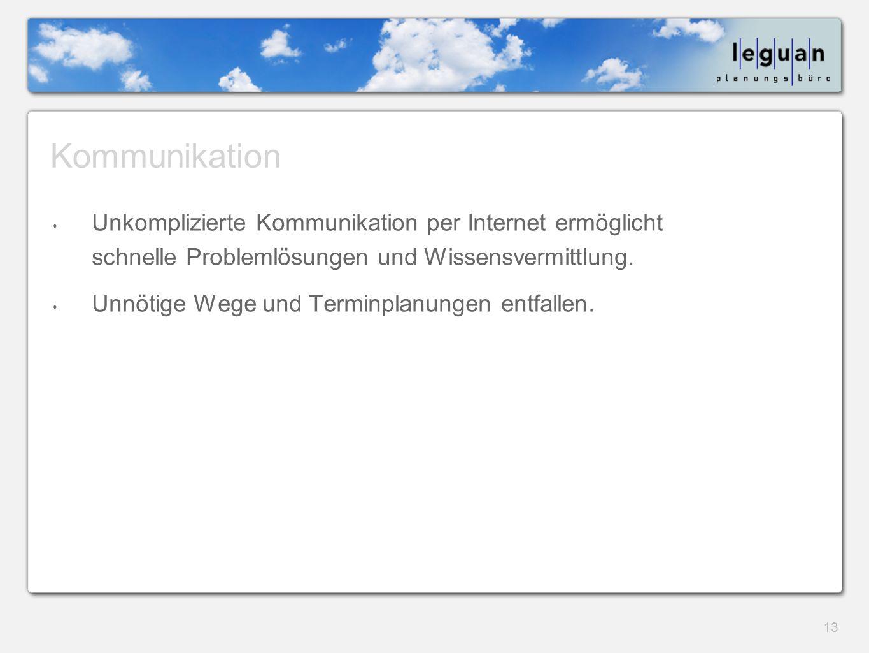 13 Kommunikation Unkomplizierte Kommunikation per Internet ermöglicht schnelle Problemlösungen und Wissensvermittlung.