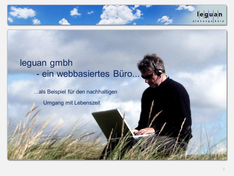 2 leguan gmbh - ein webbasiertes Büro......als Beispiel für den nachhaltigen Umgang mit Lebenszeit