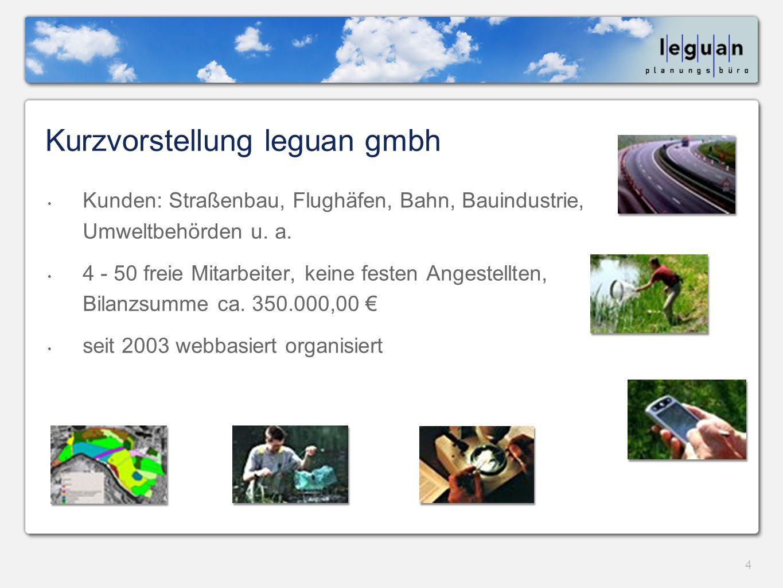 4 Kurzvorstellung leguan gmbh Kunden: Straßenbau, Flughäfen, Bahn, Bauindustrie, Umweltbehörden u.