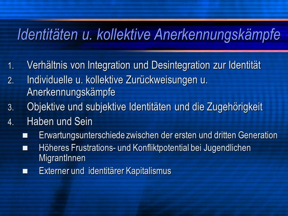 Identitäten u. kollektive Anerkennungskämpfe 1. Verhältnis von Integration und Desintegration zur Identität 2. Individuelle u. kollektive Zurückweisun