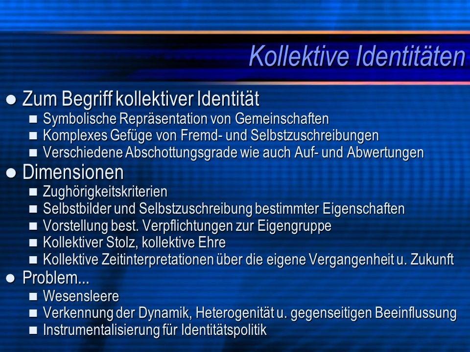 Kollektive Identitäten Zum Begriff kollektiver Identität Zum Begriff kollektiver Identität Symbolische Repräsentation von Gemeinschaften Symbolische R