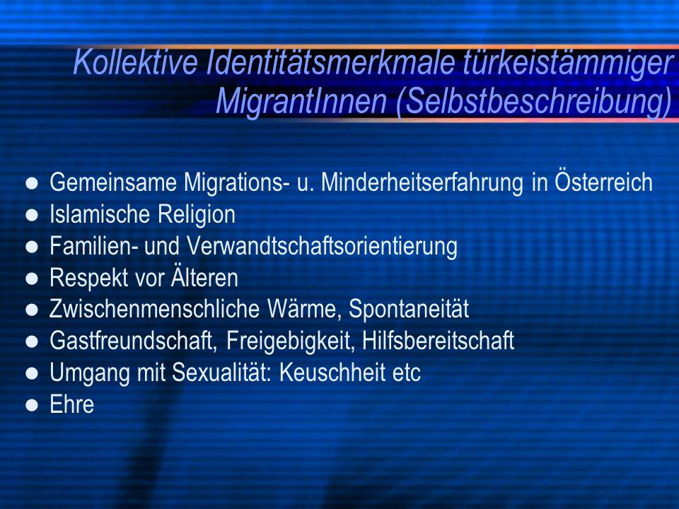 Kollektive Identitätsmerkmale türkeistämmiger MigrantInnen (Selbstbeschreibung) Gemeinsame Migrations- u. Minderheitserfahrung in Österreich Islamisch