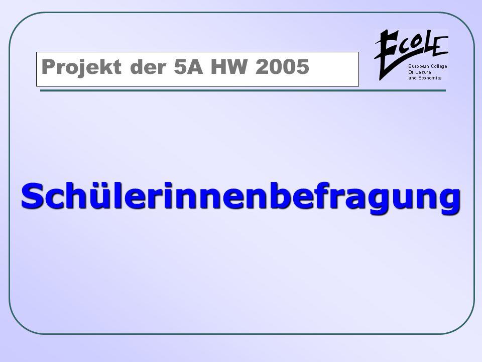 Schülerinnenbefragung Projekt der 5A HW 2005