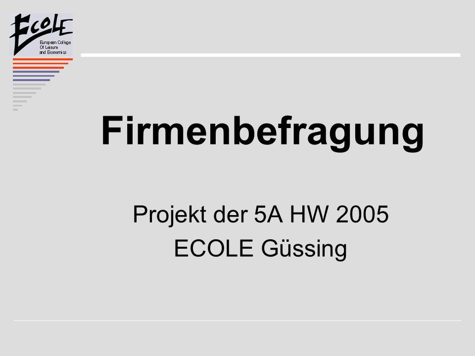 Firmenbefragung Projekt der 5A HW 2005 ECOLE Güssing