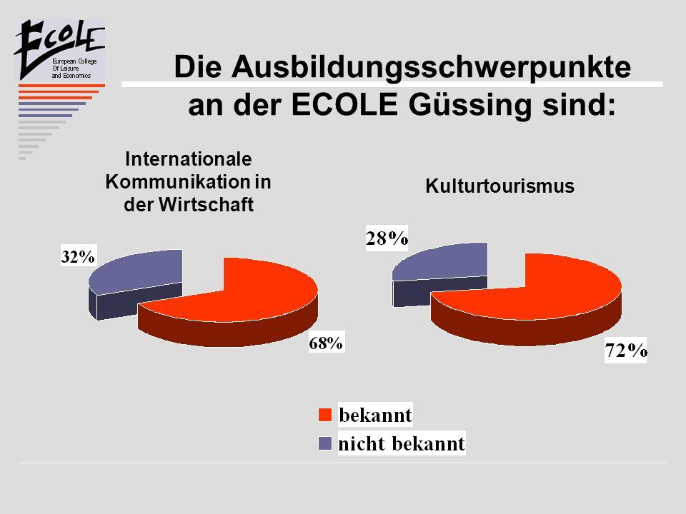 Die Ausbildungsschwerpunkte an der ECOLE Güssing sind: Internationale Kommunikation in der Wirtschaft Kulturtourismus
