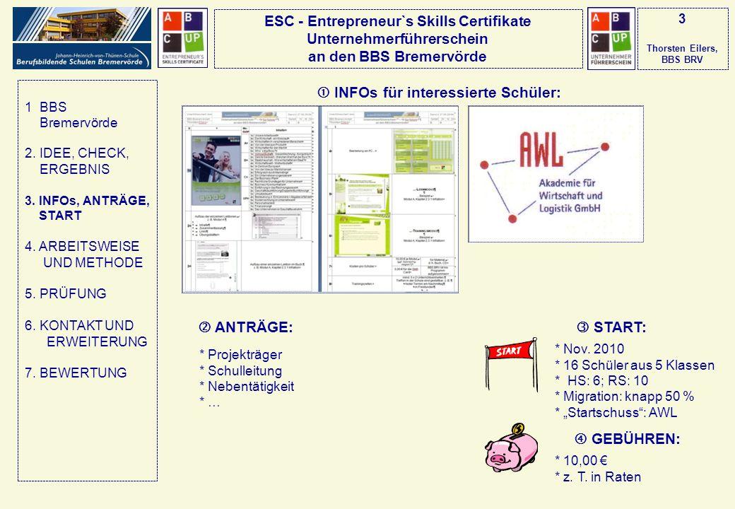 ESC - Entrepreneur`s Skills Certifikate Unternehmerführerschein an den BBS Bremervörde 3 Thorsten Eilers, BBS BRV INFOs für interessierte Schüler: ANT