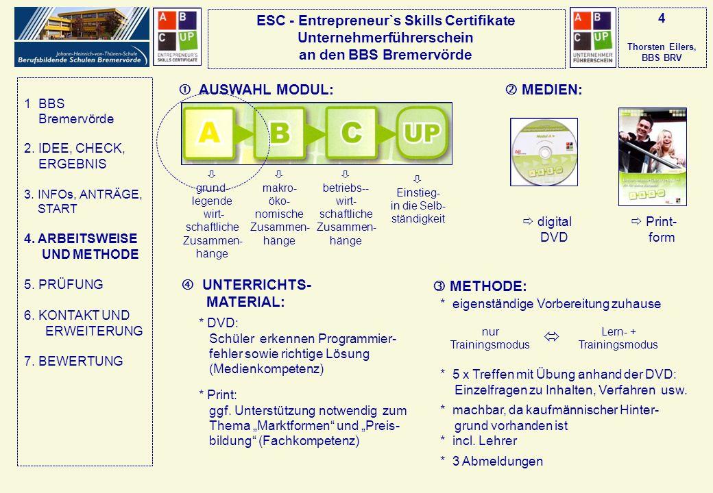 ESC - Entrepreneur`s Skills Certifikate Unternehmerführerschein an den BBS Bremervörde 5 Thorsten Eilers, BBS BRV Schüler * Prüferschulung PRÜFUNGSVORBEREITUNG: ZUKUNFT: PRÜFUNG: * 10 Schüler + 1 Lehrer * Schwierigkeit z.