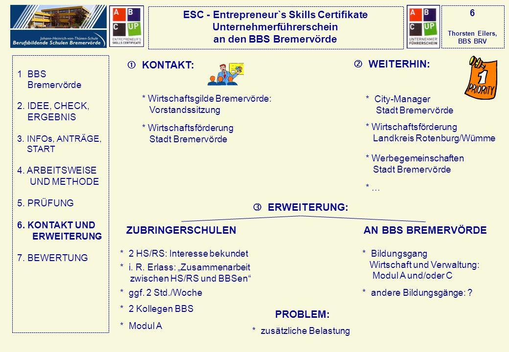 ESC - Entrepreneur`s Skills Certifikate Unternehmerführerschein an den BBS Bremervörde 6 Thorsten Eilers, BBS BRV KONTAKT: WEITERHIN: * Wirtschaftsgil