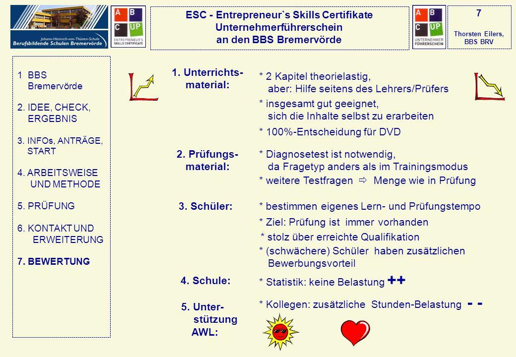 ESC - Entrepreneur`s Skills Certifikate Unternehmerführerschein an den BBS Bremervörde 7 Thorsten Eilers, BBS BRV 1. Unterrichts- material: * 2 Kapite