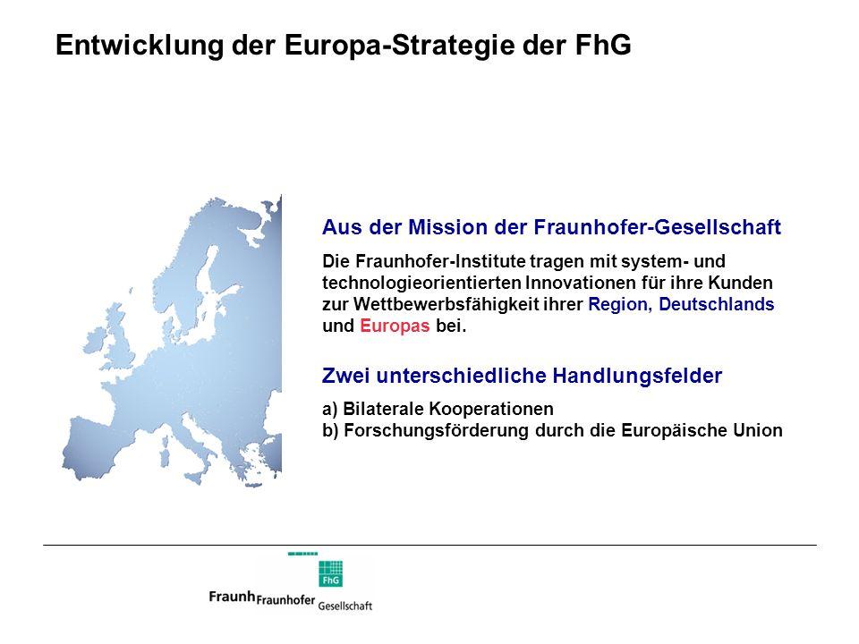 Entwicklung der Europa-Strategie der FhG Aus der Mission der Fraunhofer-Gesellschaft Die Fraunhofer-Institute tragen mit system- und technologieorient