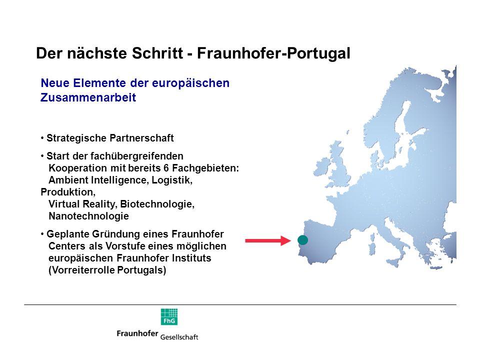 Der nächste Schritt - Fraunhofer-Portugal Neue Elemente der europäischen Zusammenarbeit Strategische Partnerschaft Start der fachübergreifenden Kooper