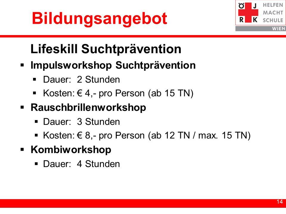 14 Bildungsangebot Lifeskill Suchtprävention Impulsworkshop Suchtprävention Dauer:2 Stunden Kosten: 4,- pro Person (ab 15 TN) Rauschbrillenworkshop Da