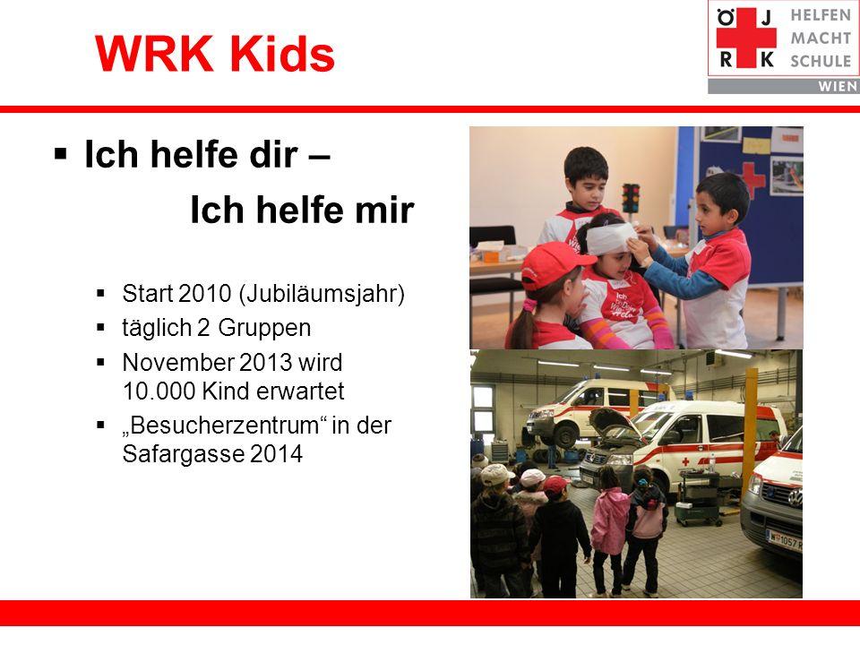 19 WRK Kids Ich helfe dir – Ich helfe mir Start 2010 (Jubiläumsjahr) täglich 2 Gruppen November 2013 wird 10.000 Kind erwartet Besucherzentrum in der Safargasse 2014
