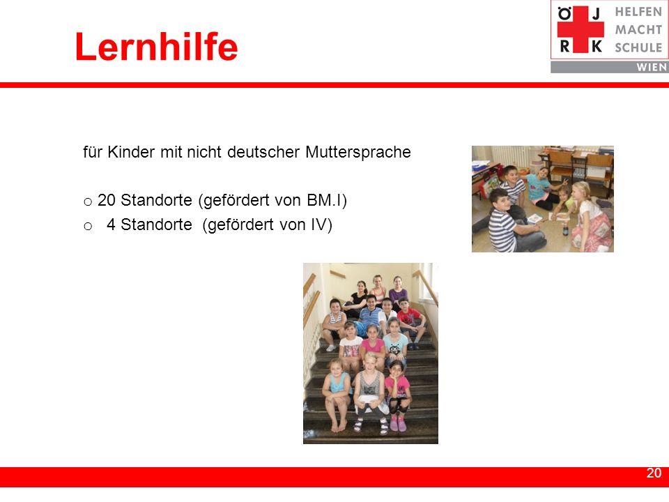 20 Lernhilfe für Kinder mit nicht deutscher Muttersprache o 20 Standorte (gefördert von BM.I) o 4 Standorte (gefördert von IV)